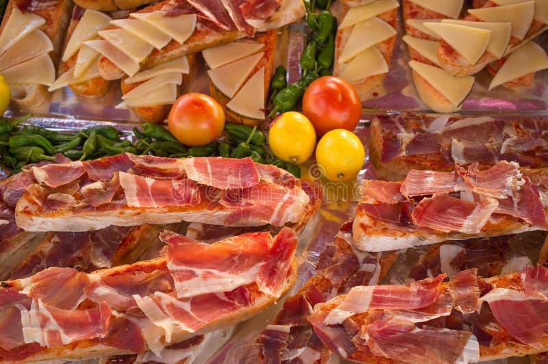 Toasties del prosciutto di Iberico immagine stock