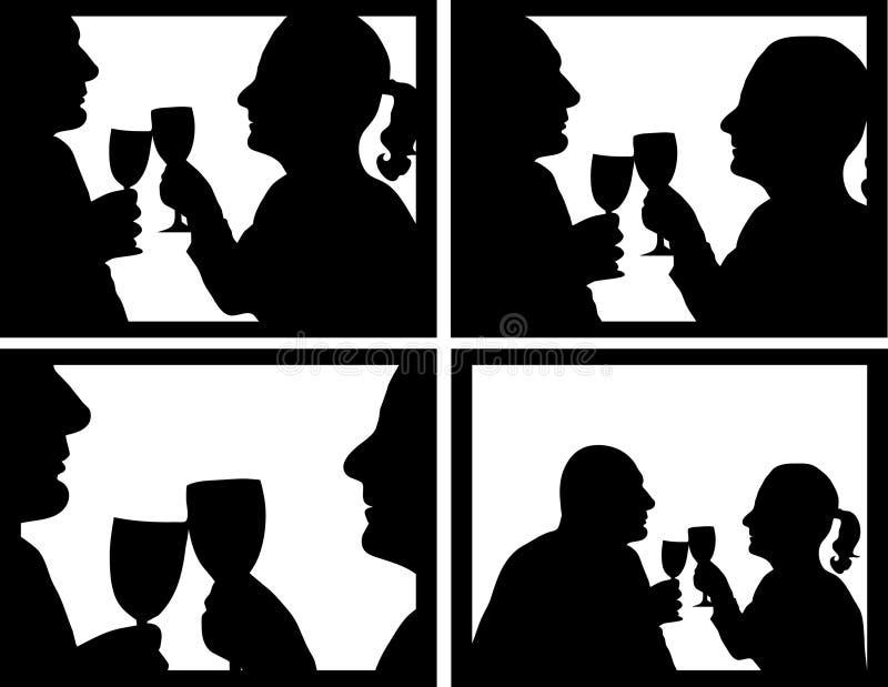 toasting пар иллюстрация вектора