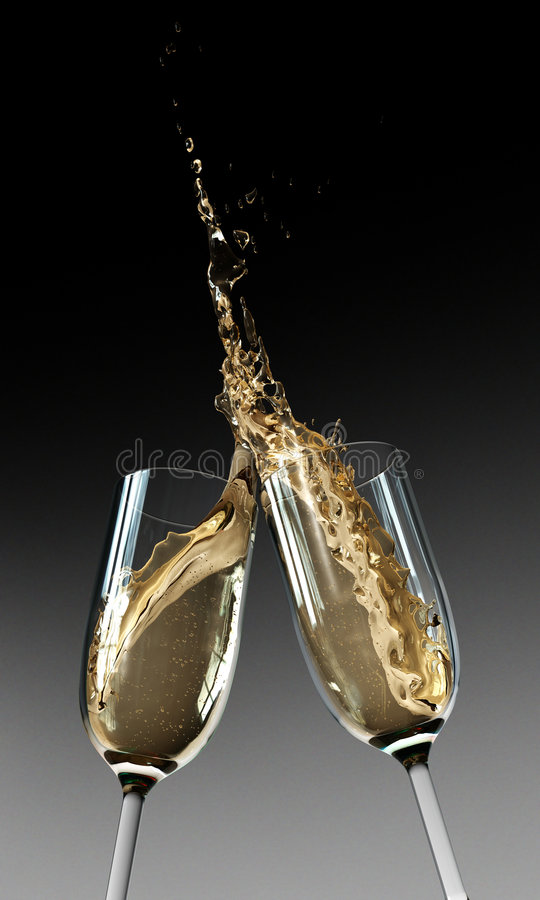 Toasting Champagne Flutes stock photography