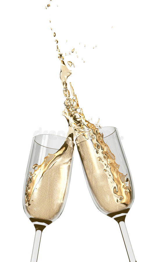 Toasting Champagne Flutes royalty free stock image