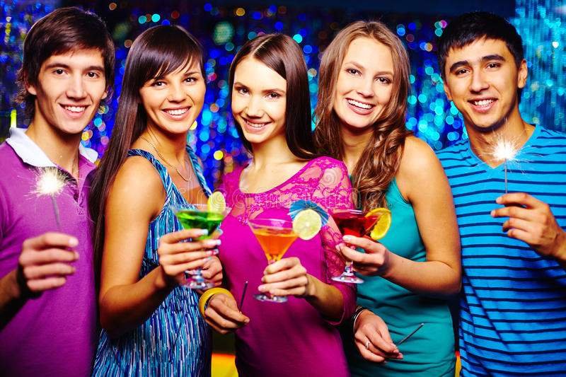 Toasting with cocktails stock photos
