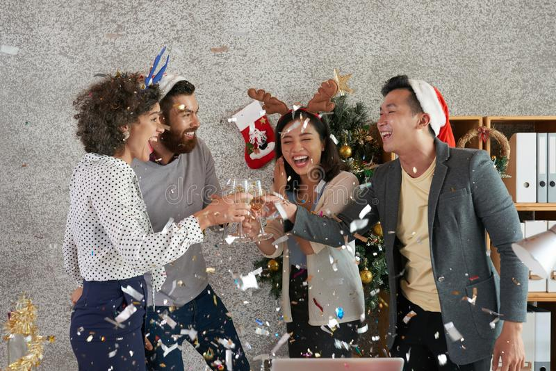 Toasting coworkers royalty free stock photo