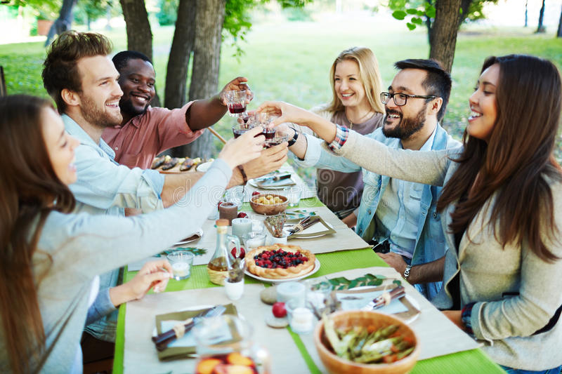 Toasting by festive dinner. Group of multi-ethnic friends toasting with red wine stock photography