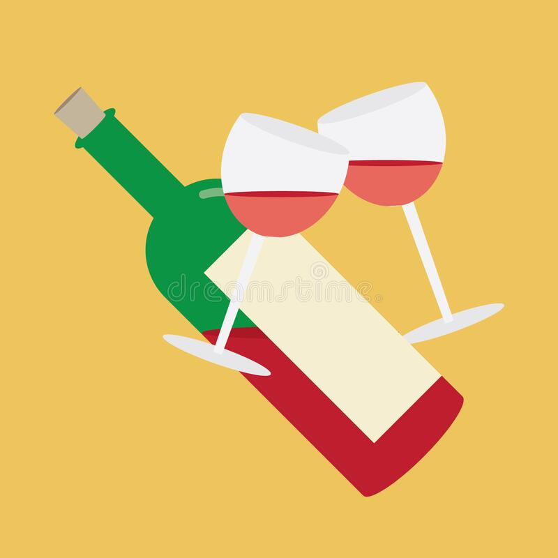 Free Toasting Gesture Of Two Wine Glasses With Wine Bottle. Vector Illustration Decorative Design Royalty Free Stock Image - 189993606
