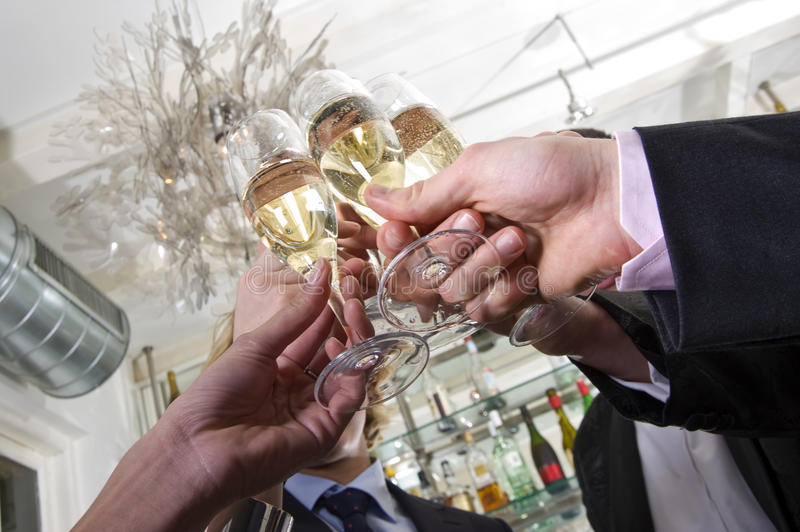Toasting on new years eve stock photo