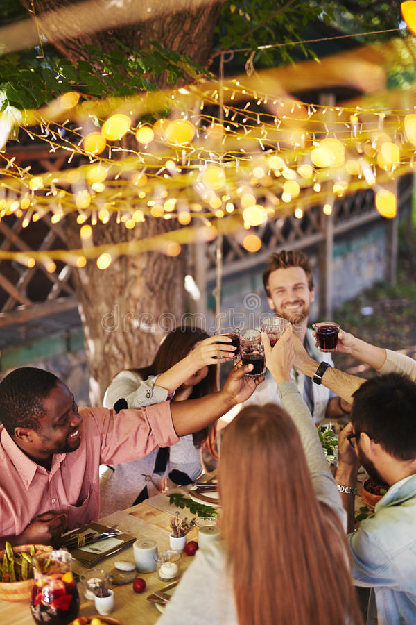 Toasting by table. Happy friends toasting with red wine at Thanksgiving party stock image
