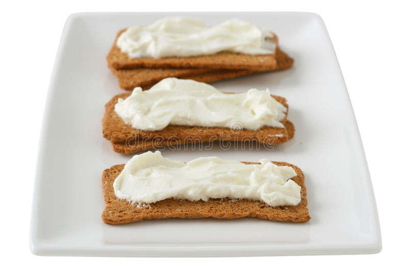 Toasts with cream cheese stock photos