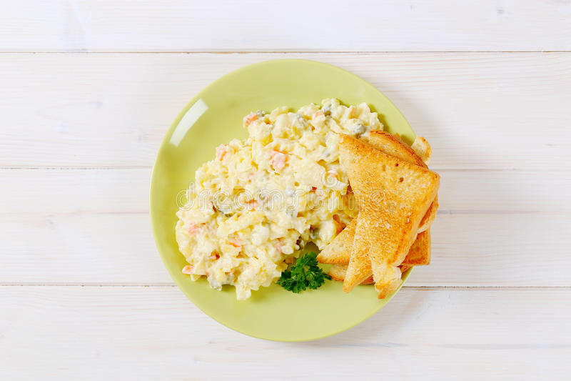 Download Toasts With Potato Salad Stock Photo - Image: 83707168
