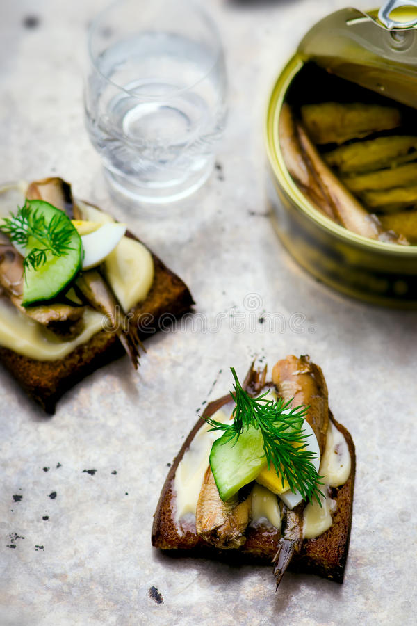 Toasts with tinned sprats royalty free stock images
