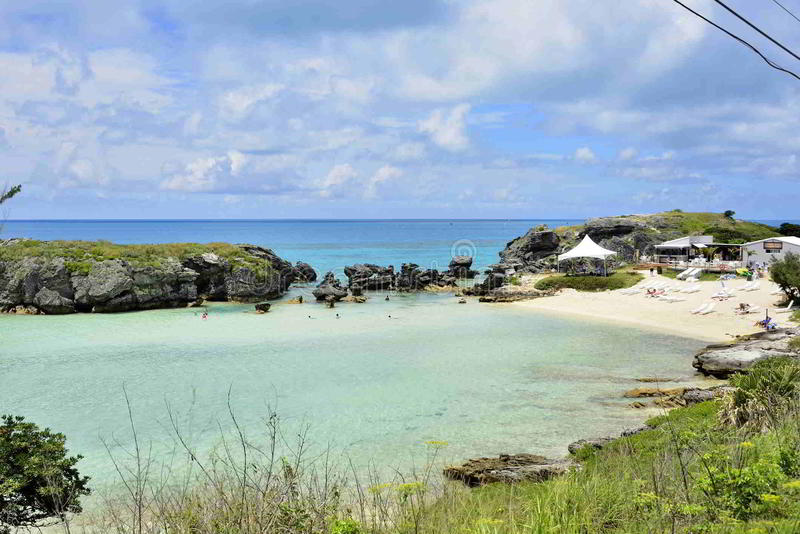 Tobacco Bay Beach, Bermuda. Quiet, Beautiful spot to snorkel, a lot of fish, warm water, pale pink sand stock images