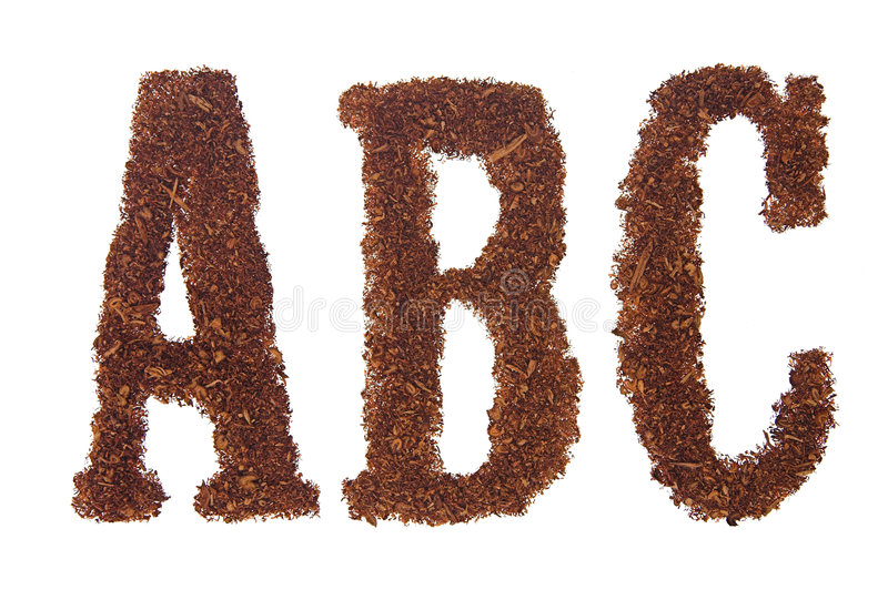 Tobacco letters ABC. White background isolated stock images