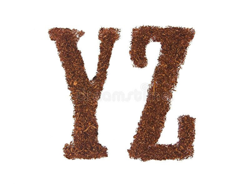 Tobacco letters YZ. White background isolated stock image
