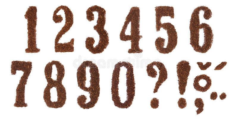 Tobacco numbers. White background isolated stock photos