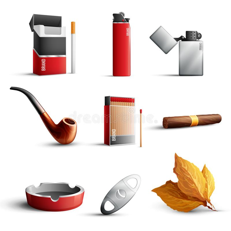 Tobacco Products Realistic Set vector illustration