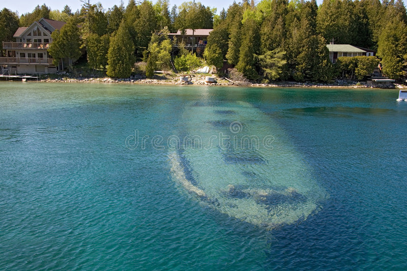 Tobermory boat under water royalty free stock photos