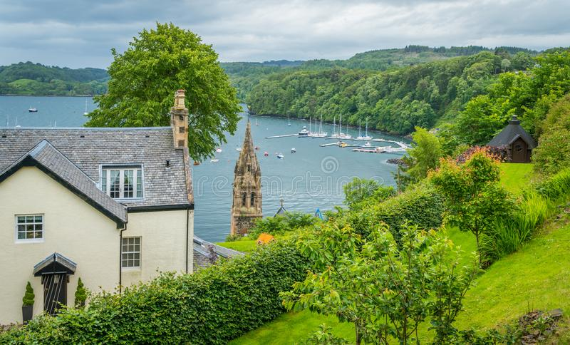 Tobermory in a summer day, capital of the Isle of Mull in the Scottish Inner Hebrides. Tobermory is the capital of, and the only burgh on, the Isle of Mull in royalty free stock photo