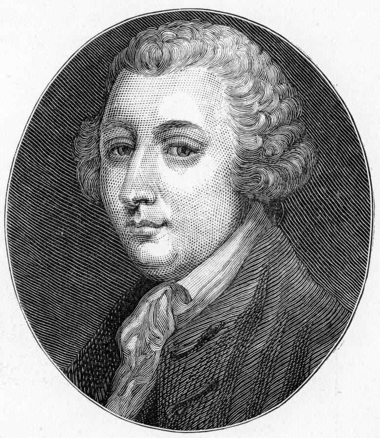 Tobias George Smollett, poeta escocês e autor ilustração stock