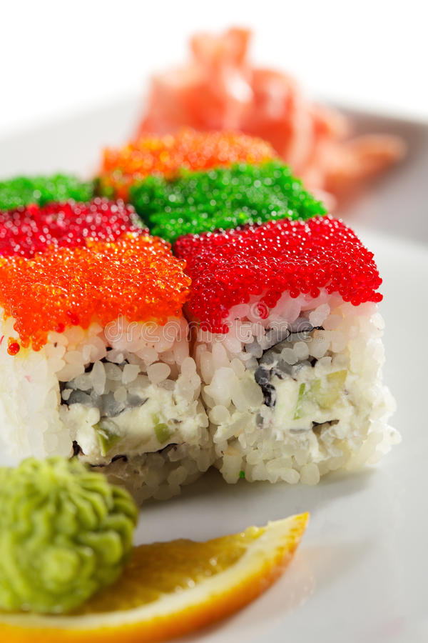Download Tobiko Rainbow Roll stock photo. Image of different, food - 11651430