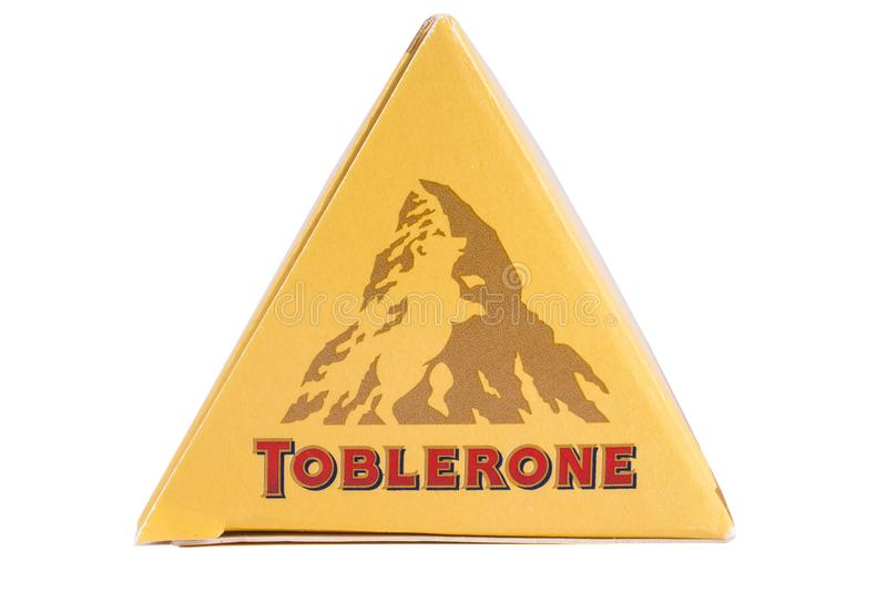 Toblerone Chocolate Bar. LONDON, UK - DECEMBER 18TH 2017: A close up of the Toblerone logo on the products packaging, on 18th December 2017. Toblerone is a Swiss stock images