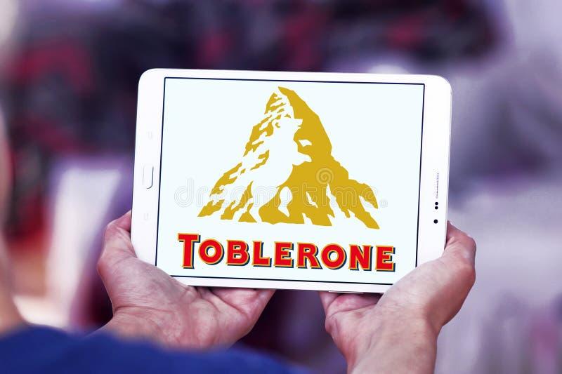 Toblerone chocolate logo. Logo of chocolate brand toblerone on samsung tablet stock image