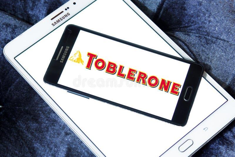Toblerone chocolate logo. Logo of chocolate brand Toblerone on samsung mobile on samsung tablet stock photography