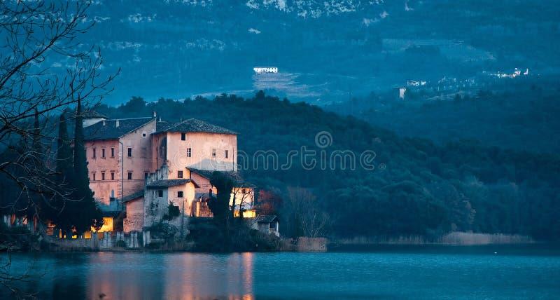 Toblino Castle. Romantic night shot of Toblino castle royalty free stock images