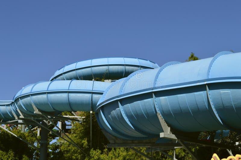 Tobogán acuático de la zambullida del delfín del parque del agua de Aquatica imagen de archivo libre de regalías