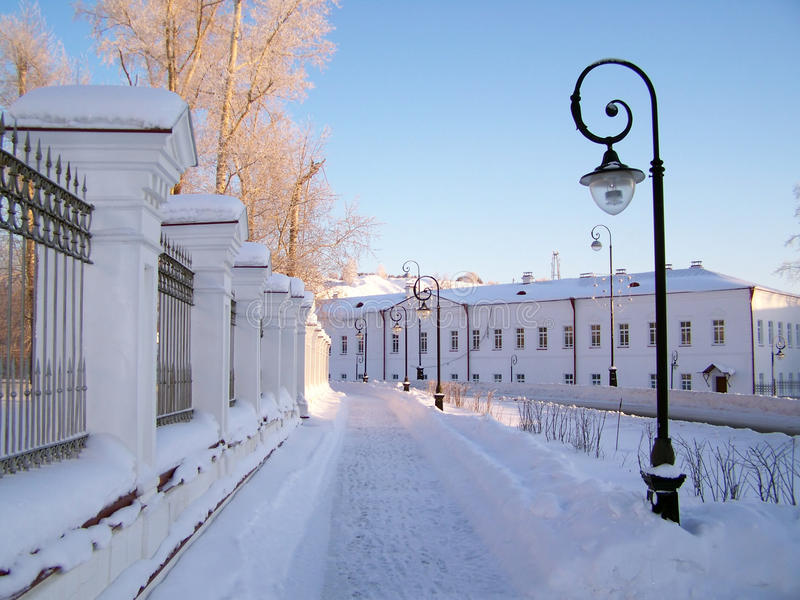 Tobol'sk. Via della città. immagine stock