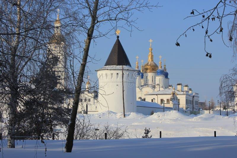 Tobolsk der Kreml, Tobolsk, Sibirien, Russland Ansicht vom Yermak-Garten lizenzfreies stockbild
