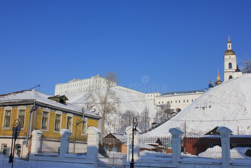 Tobolsk der Kreml, Tobolsk, Sibirien, Russland Sehen Sie den unteren Stadtteil an stockfoto