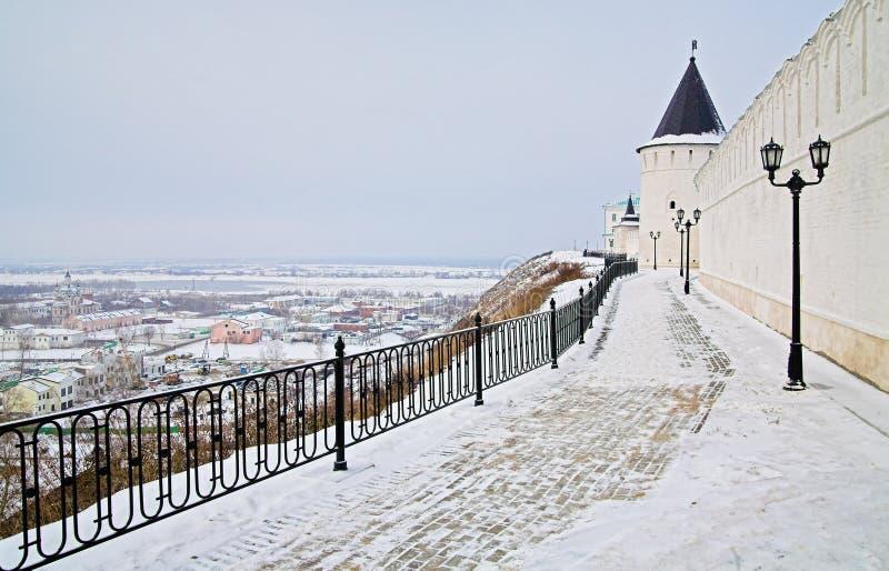 Tobolsk Kremlin Wände und Ansicht des Stadtniedrigen Teils stockbilder
