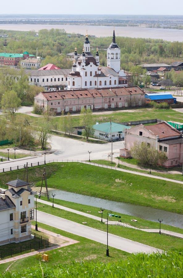 Tobolsk, Rusia - 27 de mayo de 2014: Opinión de ojo de pájaros de fotos de archivo libres de regalías