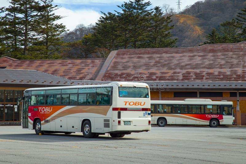 Tobu bus in Nikko, Japan. NIKKO, JAPAN - NOVEMBER 16, 2015: Tobu bus serves betweens Tobu Nikko station and lake Chuzenji in Nikko National Park stock photos