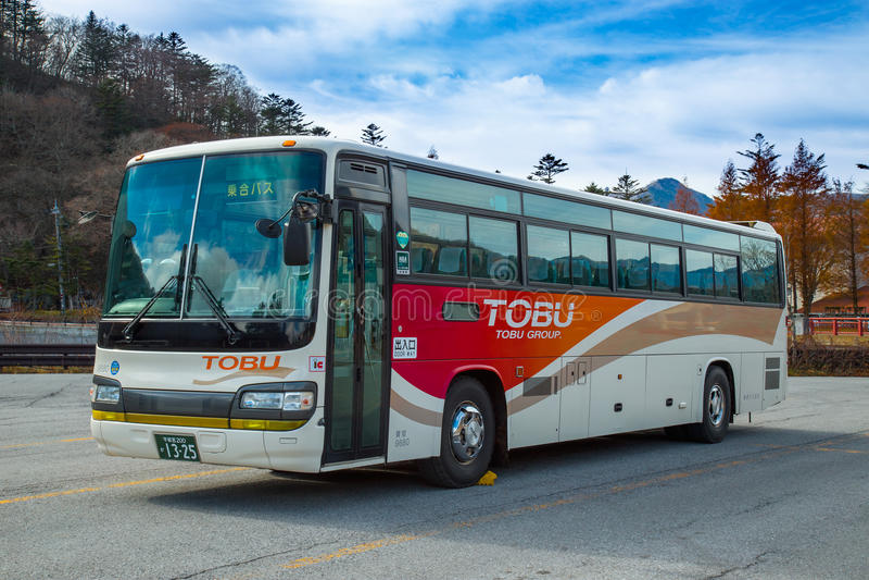 Tobu bus in Nikko, Japan. NIKKO, JAPAN - NOVEMBER 16, 2015: Tobu bus serves betweens Tobu Nikko station and lake Chuzenji in Nikko National Park royalty free stock image