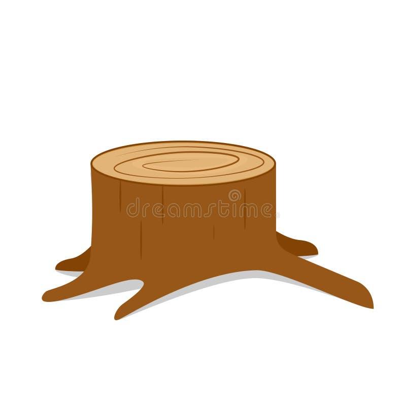 Tocón de árbol con las raíces ilustración del vector