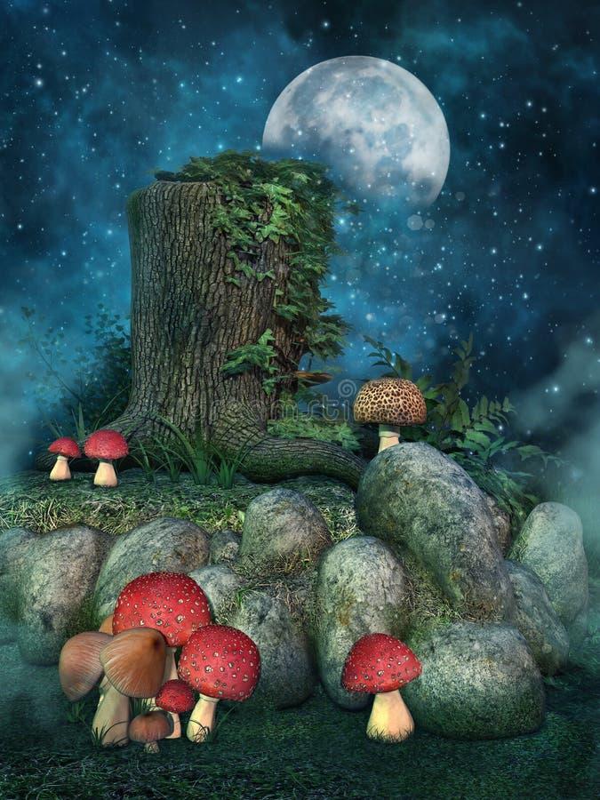 Tocón de árbol con las setas ilustración del vector