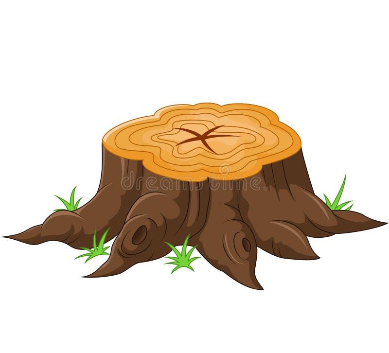Tocón de árbol de la historieta stock de ilustración