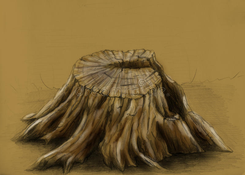 Tocón de árbol viejo - bosquejo libre illustration