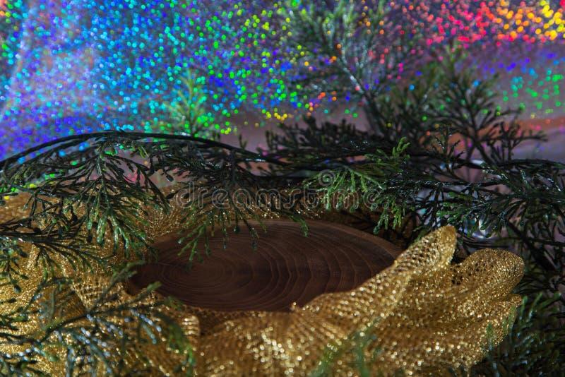 Tocón de madera por Año Nuevo imagenes de archivo