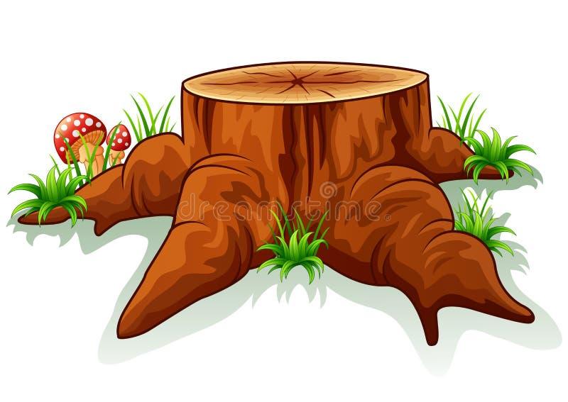 tocón y seta de árbol ilustración del vector