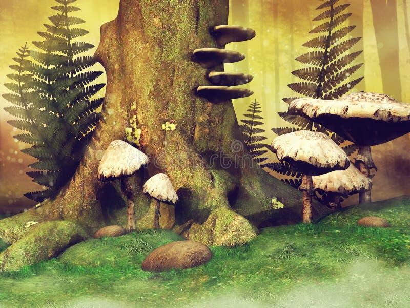 Tocón y setas de árbol stock de ilustración