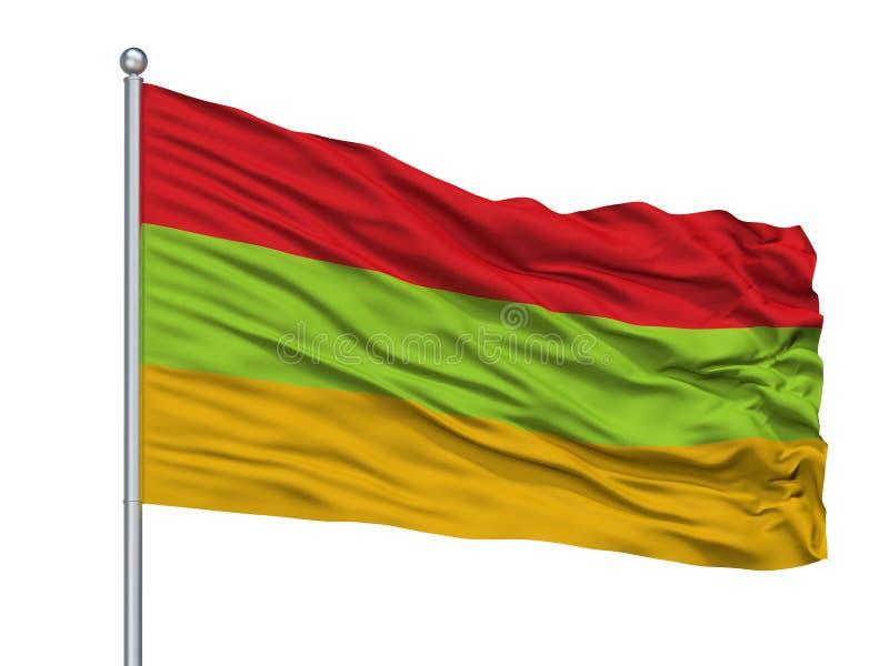 Toca City Flag On Flagpole, Colombia, departamento de Boyaca, aislado en el fondo blanco ilustración del vector