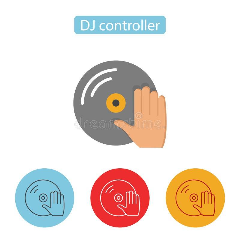 Tocadiscos de la placa giratoria de DJ con el icono de la mano stock de ilustración