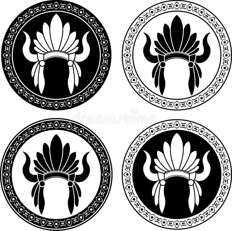 Tocado del indio del nativo americano stock de ilustración