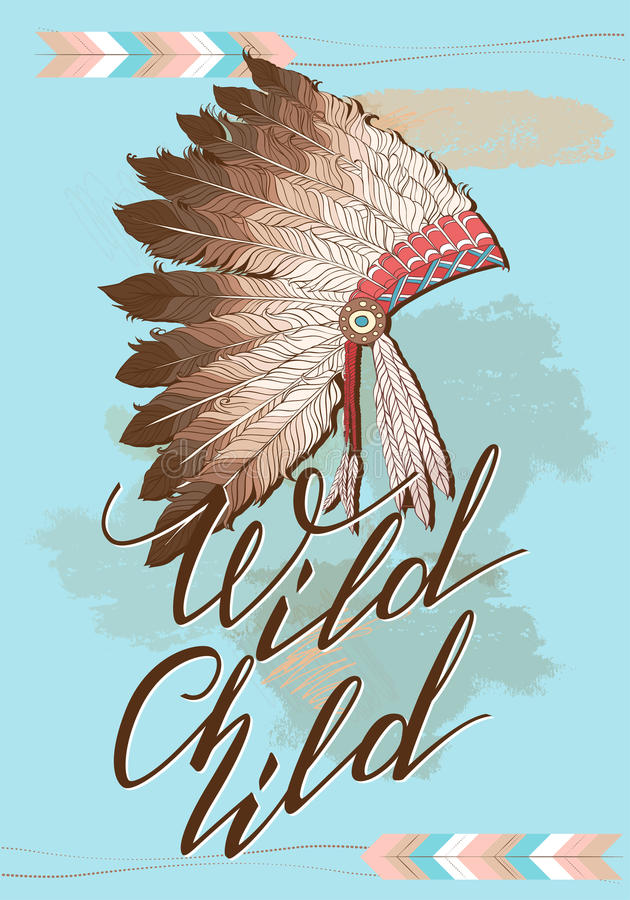 Tocado del jefe indio del nativo americano con el niño salvaje de la cita Ejemplo de color del vector del jefe de la tribu indio  stock de ilustración