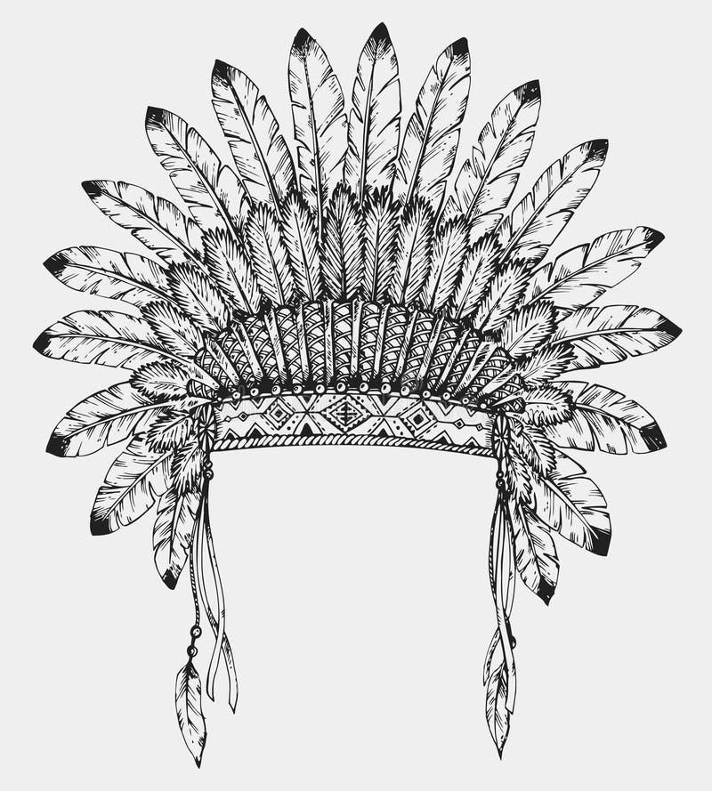 Tocado indio del nativo americano con las plumas en estilo del bosquejo ilustración del vector