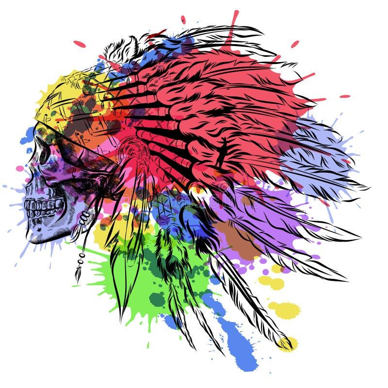 Tocado indio dibujado mano de la pluma del nativo americano con el cráneo humano Ejemplo de la acuarela del vector stock de ilustración