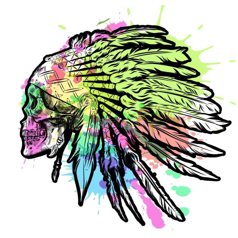 Tocado indio dibujado mano de la pluma del nativo americano con el cráneo humano Ejemplo de la acuarela del vector libre illustration