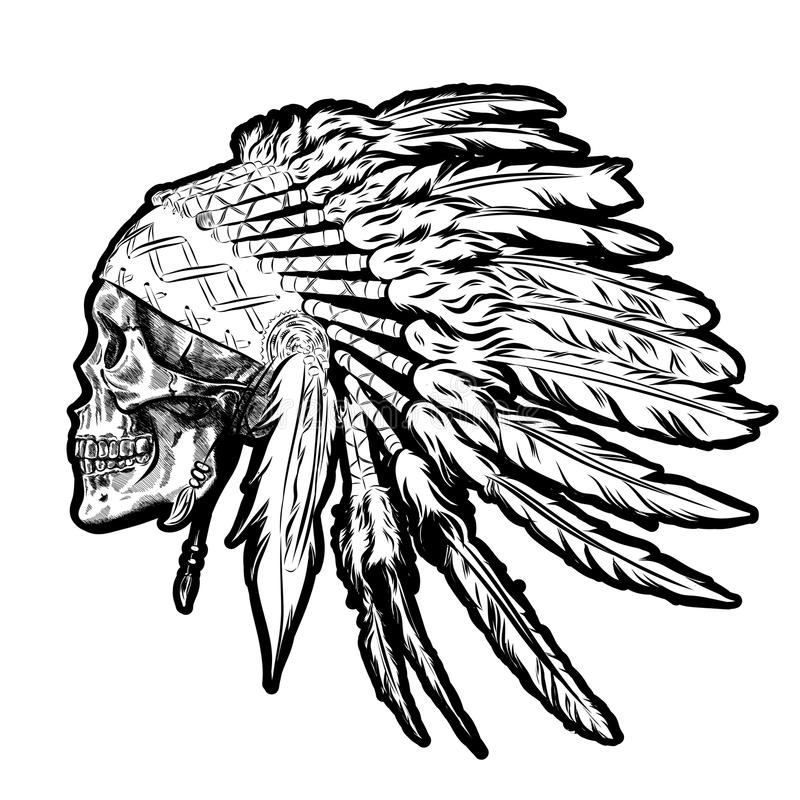 Tocado indio dibujado mano de la pluma del nativo americano con el cráneo humano Ilustración del vector ilustración del vector