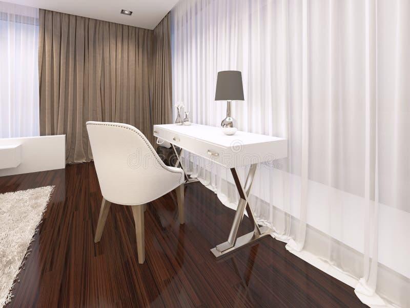 Tocador con un espejo del color blanco en el art déco del estilo del dormitorio stock de ilustración